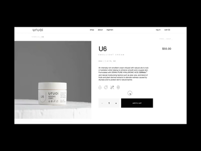 Uruoi Japanese Skincare E-commerce Website Product Page shop eshop ecommerce motion typography interaction promo product video website grid interface web ux ui