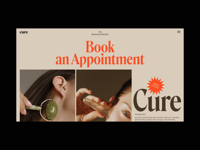 Cure Book an Appointment Scroll Animation motion promo concept interaction interface animation video website web ux ui