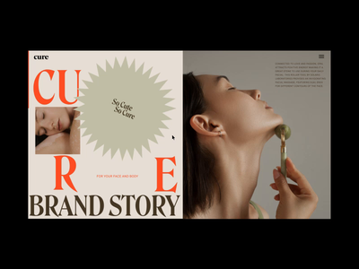 Cure Brand Story Page Animation typography interaction promo grid interface animation video website web ux ui