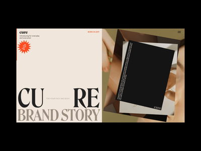 Cure Skincare Brand Story Page Animation design motion video promo interaction website web ux ui