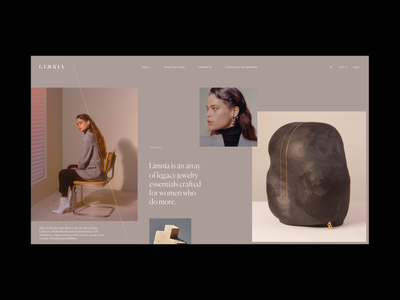 Limnia Fine Jewelry Grid jewelry model typography grid website web video ux ui
