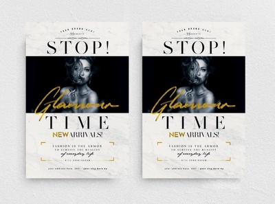 Stop! Glamour Time Flyer Template promo event new collection chic glamour marketing elegant boutique night club promotion