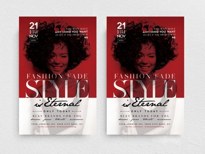 Style is Eternal Flyer Template promo boutique marketing chic glamour fashion new collection party night club promotion