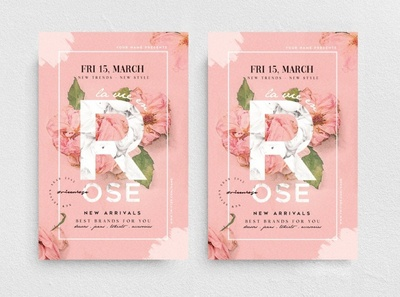 La Vie En Rose Flyer Template new collection promotion marketing chic fashion boutique poster flyer template flyer sweet cute flower rose watercolor