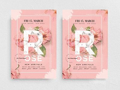 La Vie En Rose Flyer Template new collection promotion marketing chic fashion boutique poster flyer template flyer sweet cute flower rose watercolor