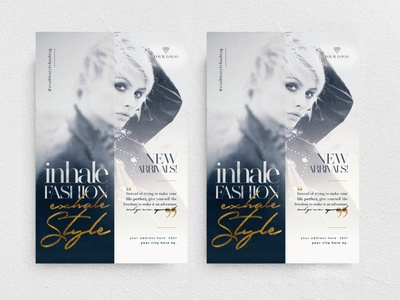 Exhale Style Flyer Template event promo elegant new collection night club party chic glamour fashion boutique
