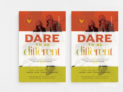 Dare To Be Different Flyer Template advertising fest marketing elegant promotion night club chic glamour boutique fashion