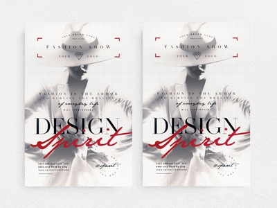 Design Spirit Flyer event advertising new collection marketing boutique elegant fashion glamour promotion party