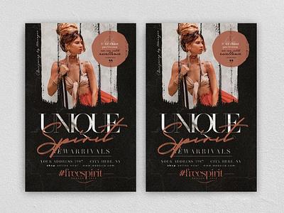 Unique Spirit Flyer event fest advertising promotion new collection design bohemian rhapsody boho chic fashion boutique