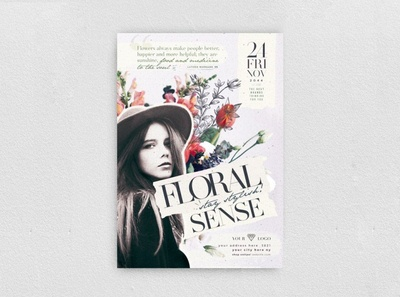 Floral Sense Flyer design illustration marketing promo promotion new collection night club chic fashion boutique