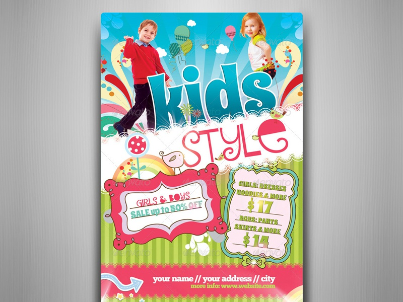Kids Style Flyer Template by touringxx - Dribbble