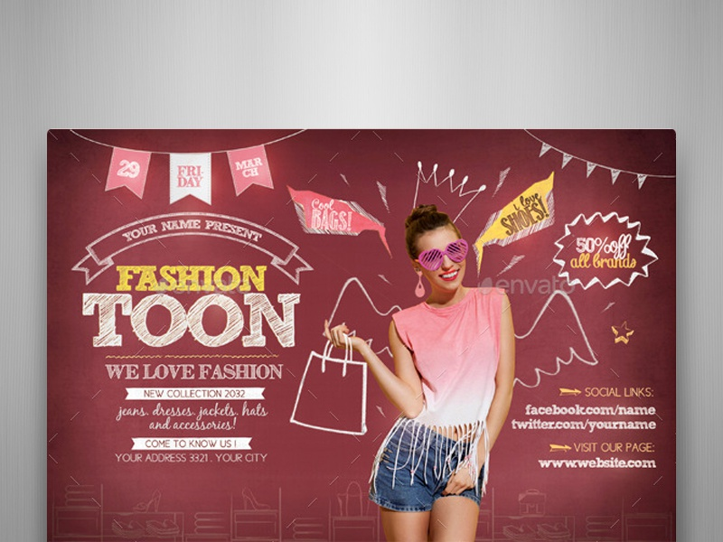 Fashion Toon Flyer Template By Touringxx Dribbble Dribbble