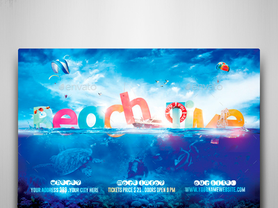 Beach Time Flyer Template surf rio realistic party outdoor ocean music fun festival exhibition event flyer beach