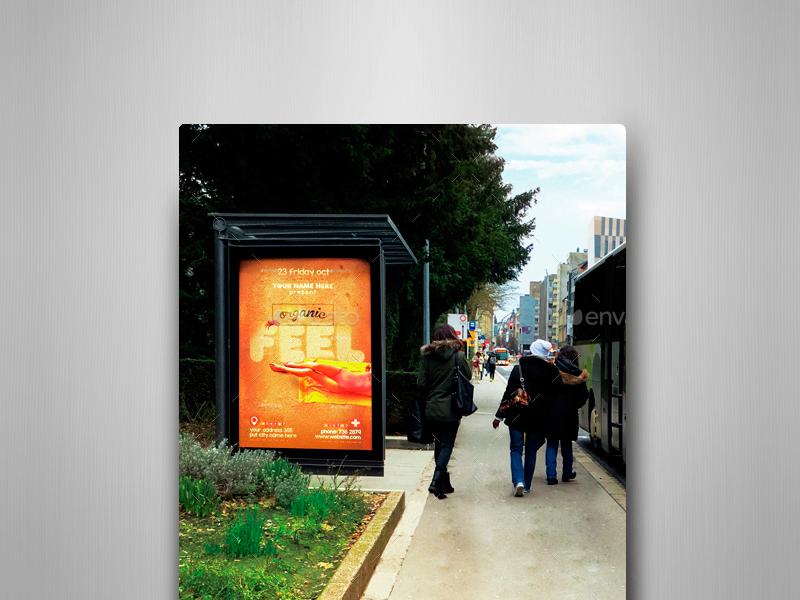 Bus Stops Vol.2 Mock-Ups Pack transportation traffic smart object sign realistic bus stop bus shelter billboard avenue autobus advertising ads