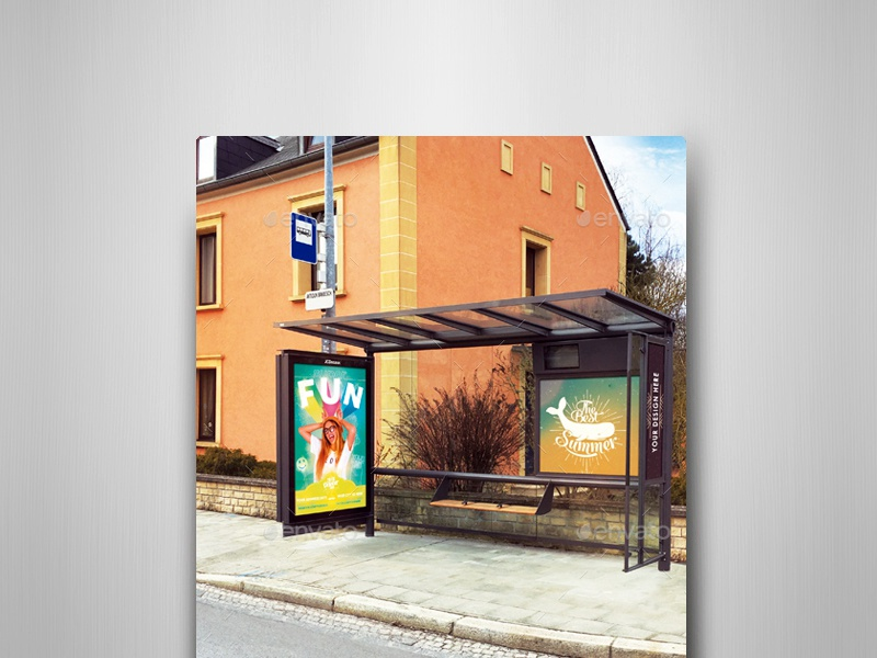 Bus Stops Vol.3 Mock-Ups Pack transportation traffic smart object sign realistic stop bus shelter billboard avenue autobus advertising ads