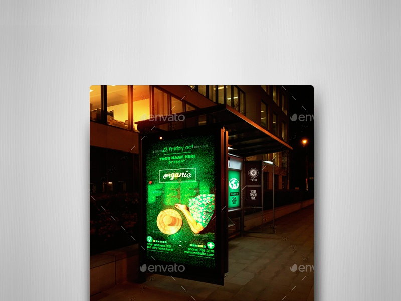 Bus Stops At Night Vol.2 Mock-Ups Pack transportation traffic smart object sign realistic bus stop bus shelter billboard avenue autobus advertising ads