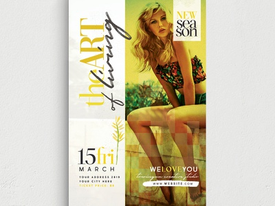 The Art Of Living Flyer Template promo party night club new collection modern model mode marketing haute couture glamour fest fashion fancy event elegant disco creative classy chic boutique
