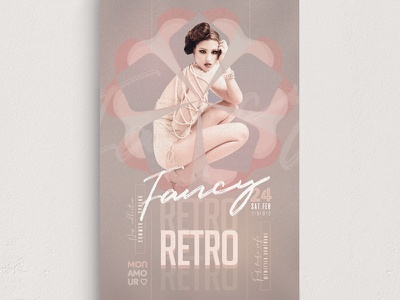 Retro Fancy Flyer Template promo marketing lady couture haute glamour fresh fashion event elegant cute creative collection clothing classy chic boutique advertising 80s 70s