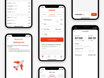 VietJetAir. Redesign trip iphone ios sign up order details travel vietnam flight cards ui cards button booking airline ui flat figma dayliui app