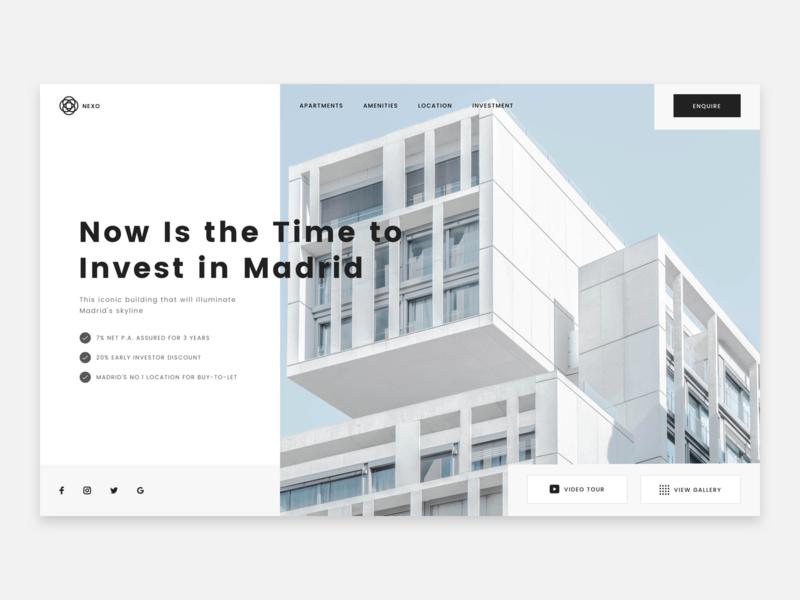 Apartment Investment madrid investment investing apartment investment apartment hero header web design ux ui