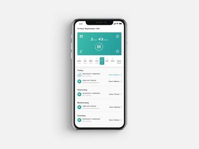 Time Tracking/Tracker App ux mobile app app ui projects timer time tracking time tracker freelancing tracking tracker calendar