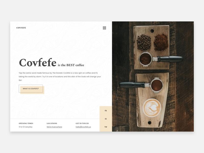 Covfefe Coffee unsplash the best coffee donald trump trump coffee bar coffee covfefe ui ux web design hero header