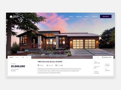 Boulder Abodes colorado boulder houses homes apartment apartments real estate header hero web design ux ui