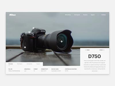Nikon D750 ui ux web design hero header camera photography d750 nikon dslr digital camera