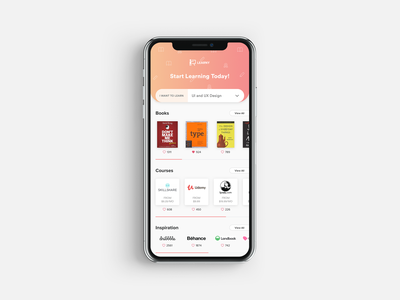 Learny Mobile App aggregator inspiration courses books tutorial learning platform learning app beginner learn ui app ux mobile app ios