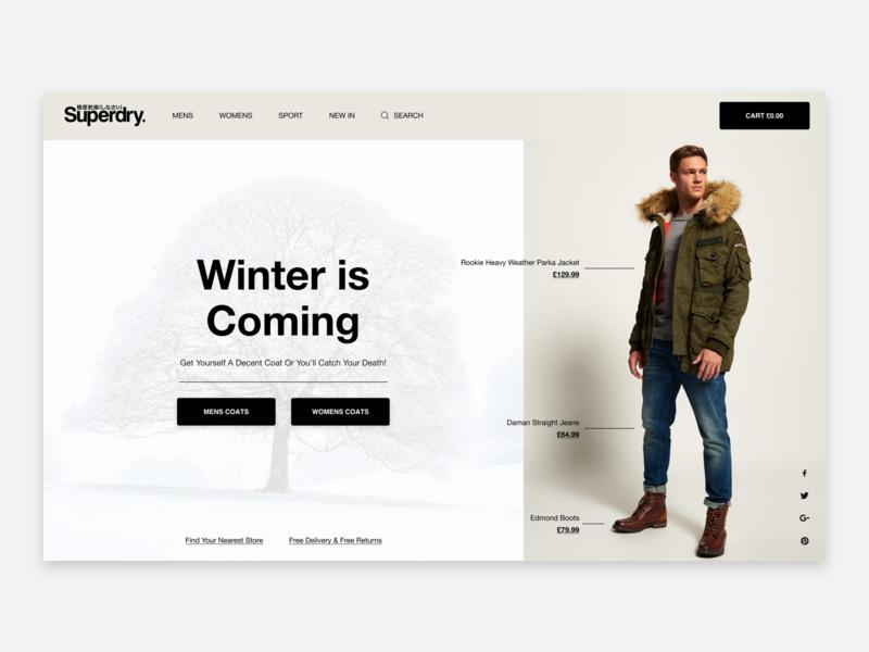 Superdry ecommerce shop ecommerce boots jeans coats clothes superdry winter ui ux web design hero header