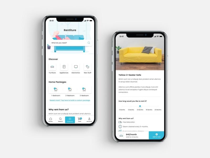 Rentiture Mobile App - Renting Furniture ios design mobile mobile app app ux ui