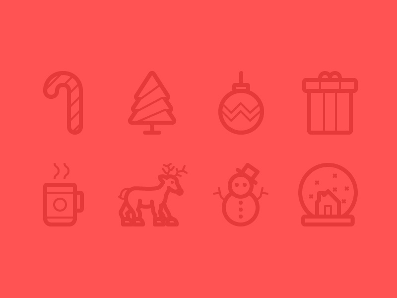 Christmas Icon Pack snowglobe snowman reindeer hot drink present bauble tree candy cane giveaway icons pixel perfect christmas