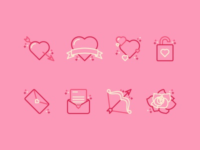 Valentines Icon Pack pixel perfect design line icon email lock rose bow letter heart illustration icon valentines