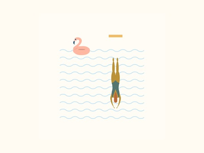 Boundless Pool Plunge vector illustration drawing diver dive green brown gold blue flamingo pool color palette color vector children book illustration stationery design fine art artwork design illustration