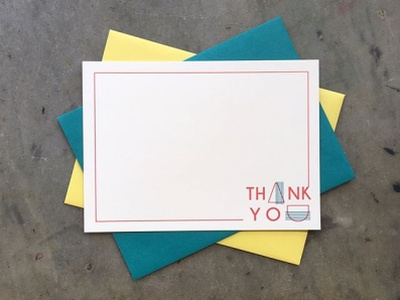 Letterpress Printed Thank You Cards letterpress thank you card branding color palette color vector hand-lettering stationery design design illustration