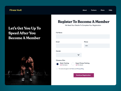 Registration Page for A Fitness House website concept website design typogaphy registration sign up product design uxui ui  ux
