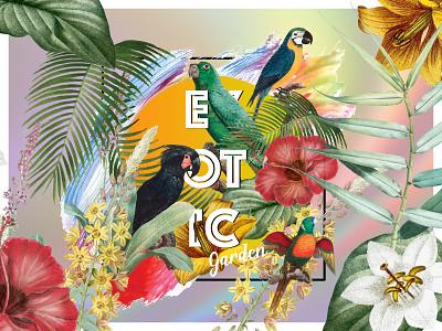 Exotic 'Virtual' Garden | Tropical Vibes dribbleweeklywarmup vector digital art designer design weekly challenge tropical poster graphic design poster design weekly warm-up weeklywarmup
