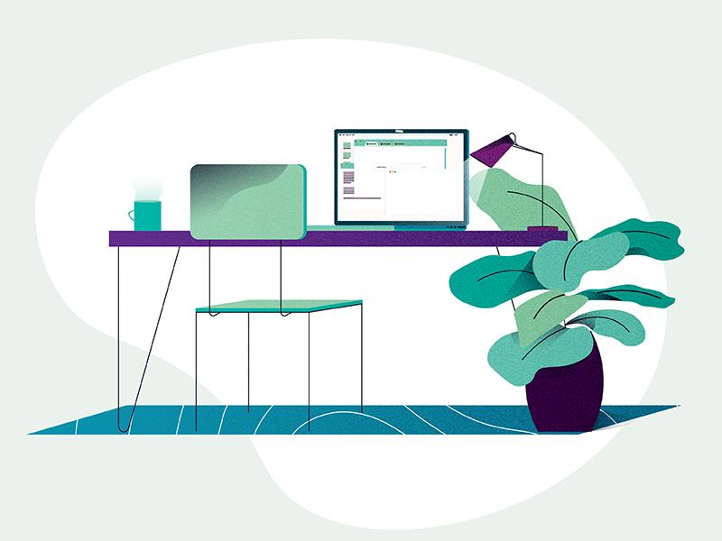 Desk illustration coffee chair illustration plant computer desk