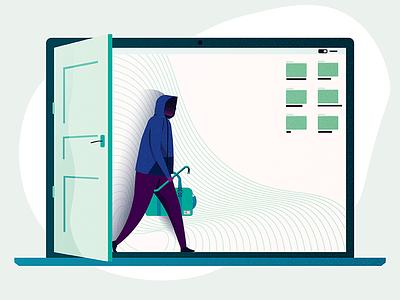 Hacker files laptop safe safety privacy burglar illustration computer hacker hack