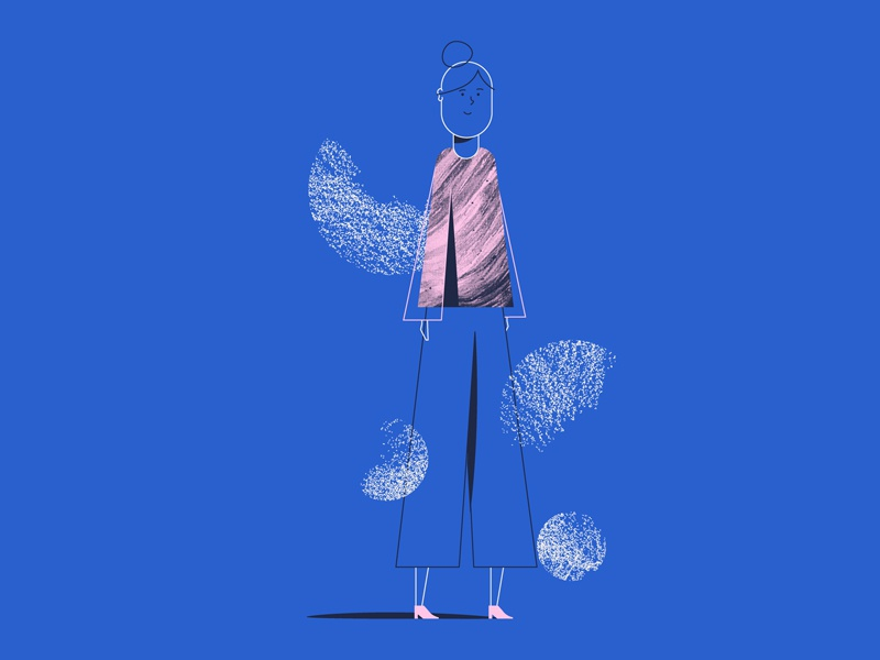 Exploration #2 woman illustration woman girl illustration blue pink texutre girl exploration illustration