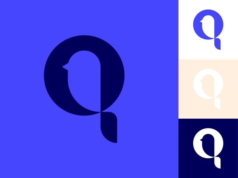 Bird + Q Logo tweet birds logo birds branding logo design monogram monogram logo q logo q logo bird logo bird