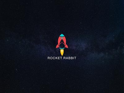 ROCKET RABBIT LOGO vector tshirtdesign ux illustration design minimal logo and branding graphic design branding logodesign