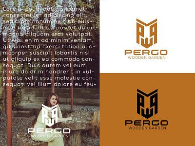 PERGO wooden garden logo smallbussiness monogrammer professionallogo modernlogo gardenlogo woodenlogo