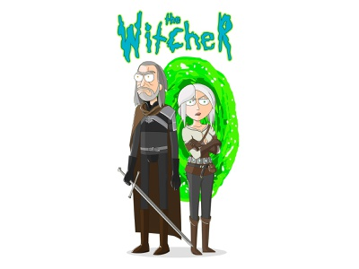 "Illustration ""The Witcher in the style of Rick and Morty"" the witcher illustration vector"