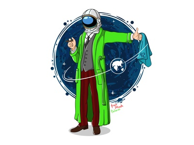 "Illustration ""Freud and The hitchhiker's guide to the galaxy"" freud illustration vector"