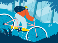 Miles 4 Milla Cyclist Animation after effects race forest vector cyclist girl woman blue bouncy cyclecross woods bicycle animation