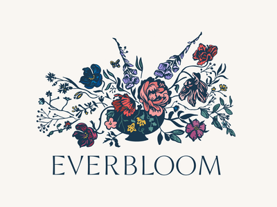 Everbloom Design Brand branding drawing eucalyptus custom typography poppy peony foxglove brand florist logo flowers botanical illustration