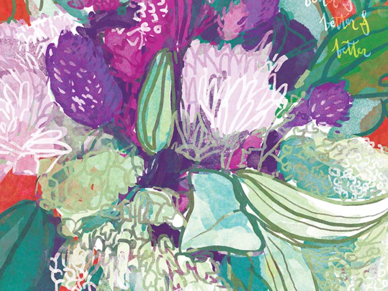 Flower Still Life - Detail floral botanical pattern illustration drawing painting lettering flowers design