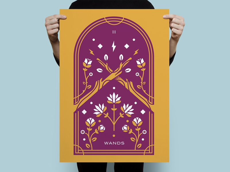 Tarot Series 5: Two of Wands monoline symmetry occult screenprint poster tarot wands two botanical illustration wand flower