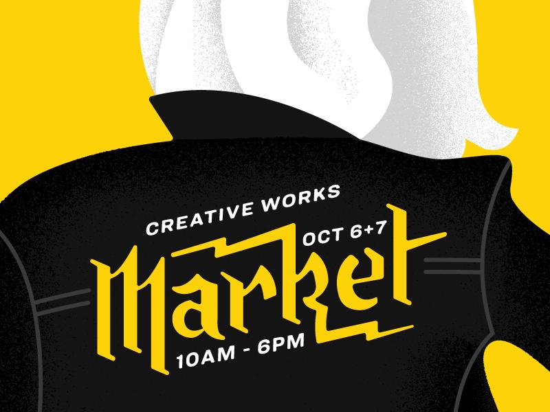 Creative Works Market Poster Illustration lightening texture lettering duotone jacket type blackletter handlettering poster market illustration creative works